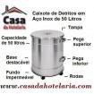 Caixote de Detritos de 50 Litros em Aço Inox com Tampa e Rodas - Refª 100284