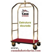 Carro Bengaleiro Dourado para Transporte de Malas e Bagagens - Refª 100811