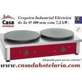 Crepeira Industrial Eléctrica Monofásica de 2x Ø 400 mm (transporte incluído) - Refª101289