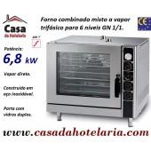 Forno Combinado Misto a Vapor de 6 Níveis GN 1/1, Versão Eléctrica Trifásica, Potência de 6,8 kW - Refª 101762