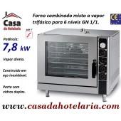 Forno Combinado Misto a Vapor de 6 Níveis GN 1/1, Versão Eléctrica Trifásica, Potência de 7,8 kW - Refª 101763