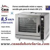 Forno Combinado Misto a Vapor de 6 Níveis GN 1/1, Versão a Gás, Potência de 8,5 kW/h (transporte incluído) - Refª 101764