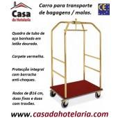 Carro para Transporte de Bagagens / Malas de Quadro Dourado e Carpete Vermelha, Dimensões de 790x590x1890 mm (LxPxA) (transporte incluído) - Refª 101767