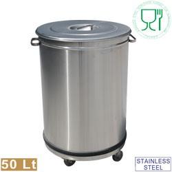 Caixote do Lixo de 50 Litros em Aço Inoxidável de Fundo Impermeável com Tampa e Rodas, Dimensões de Ø 390x615 mm (LxA) - Refª 100284