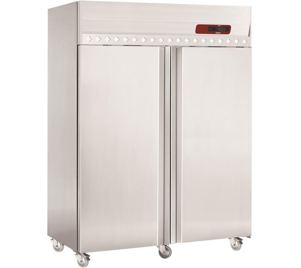 Armário de Congelação Ventilado GN 2/1 em Aço Inoxidável, Frigorífico Industrial de 2 Portas com 1400 Litros, -15º -25º C (transporte incluído) - Refª 101229