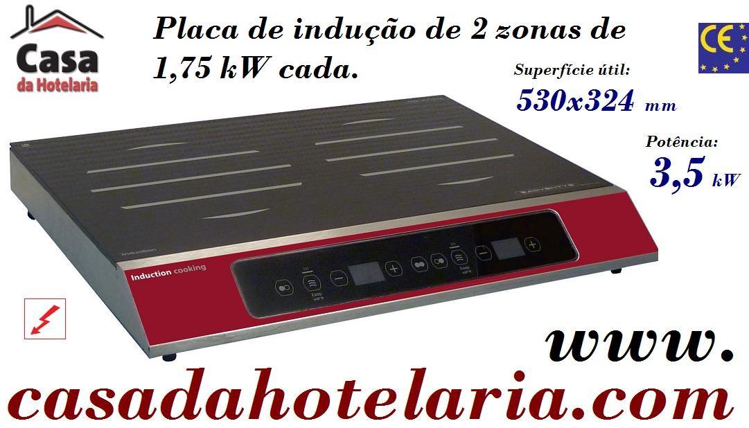 Placa de Indução Digital Monofásica de 2 Zonas, Potência de 3,5 kW (transporte incluído) - Refª 100010