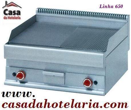 Placa de Grelhar Industrial a Gás 1/2 Lisa 1/2 Canelada com Tratamento Cromo Duro de 2 Zonas da Linha 650, 9800 Kcal/h (transporte incluído) - Refª 100029
