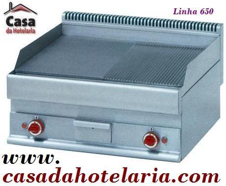 Placa de Grelhar Industrial Eléctrica 1/2 Lisa 1/2 Canelada Trifásica da Linha 650, 9000 Watts (transporte incluído) - Refª 100035