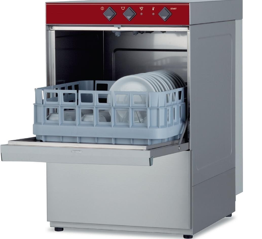 Máquina de Lavar Louça Industrial Monofásica para Copos e Pequenos Pratos com Cestos de 400x400 mm (transporte incluído) - Refª 100169