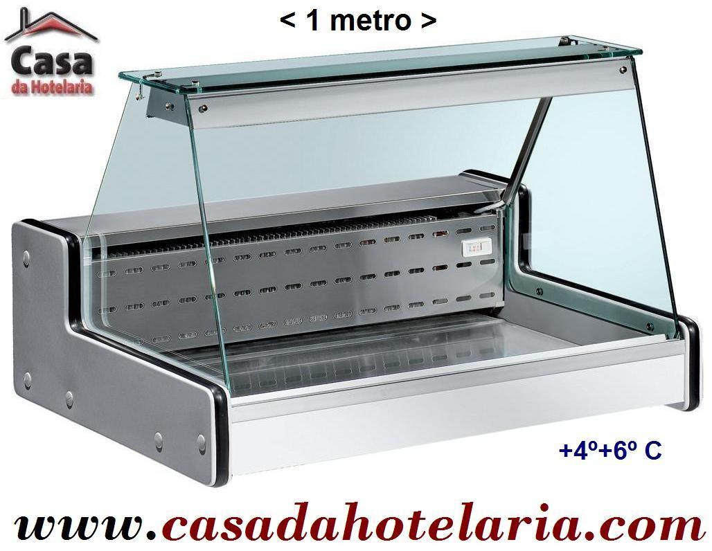 Vitrina Expositora Refrigerada de 1 Metro com Zona de Exposição em Inox, Temperatura +4º + 6º C (transporte incluído) - Refª 100202