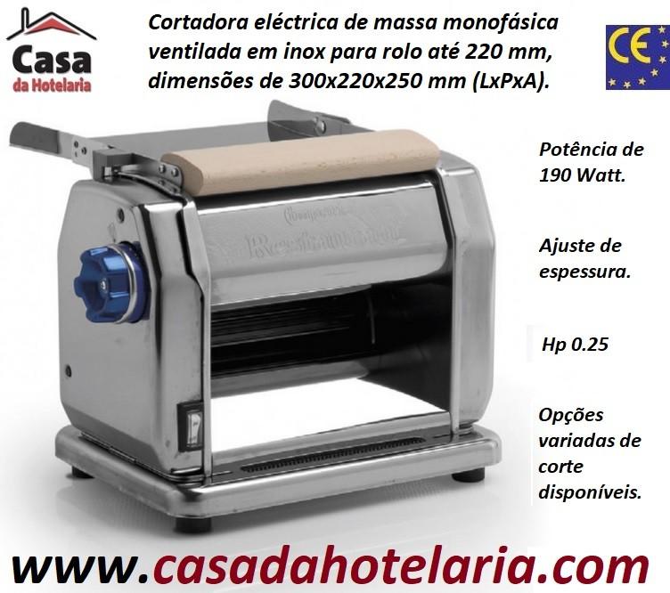 Cortadora Eléctrica de Massa Monofásica Ventilada para Rolo até 220 mm, Hp 0.25, 190 Watts (transporte incluído) - Refª 100204