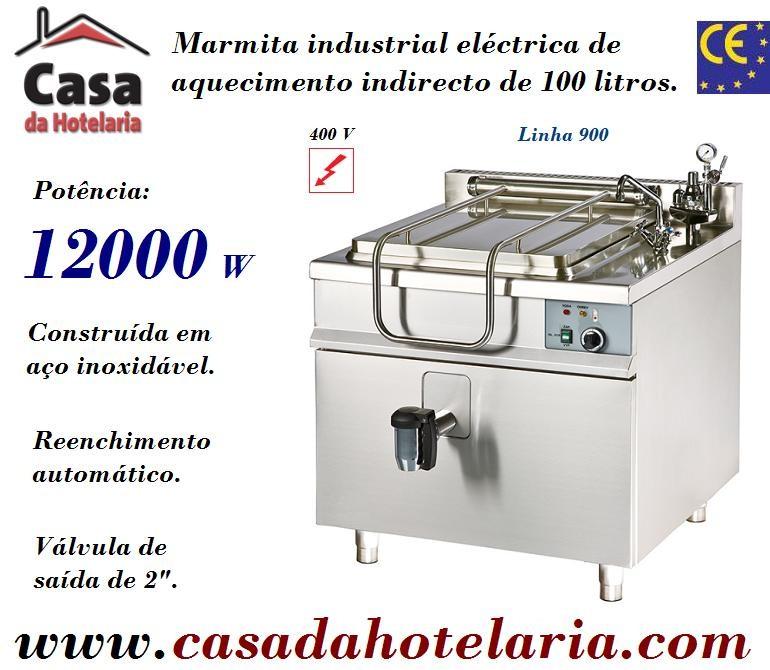 Marmita Industrial Eléctrica de Aquecimento Indirecto de 100 Litros da Linha 900 (transporte incluído) - Refª 100957