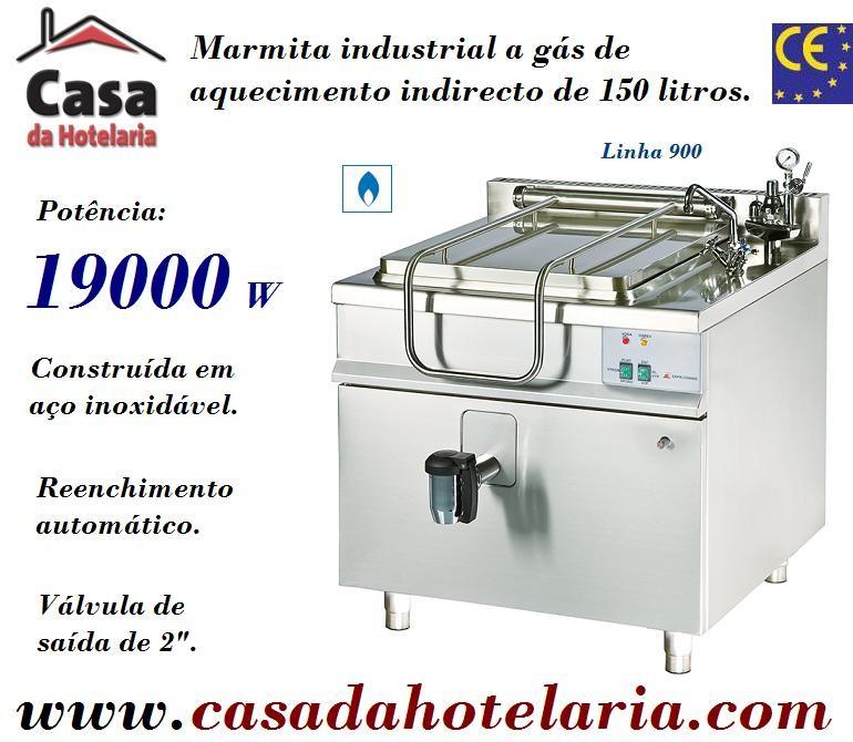 Marmita Industrial a Gás de Aquecimento Indirecto de 150 Litros da Linha 900 (transporte incluído) - Refª 100971