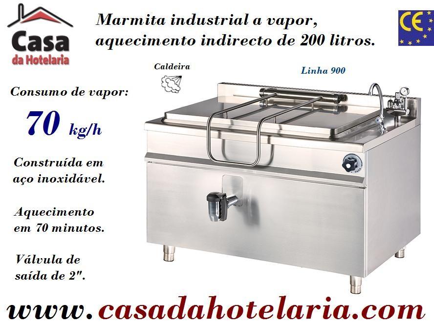 Marmita Industrial de Aquecimento a Vapor com Caldeira de 200 Litros da Linha 900 (transporte incluído) - Refª 101001