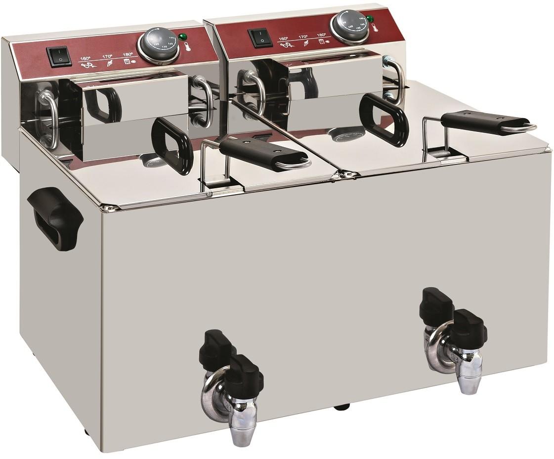 Fritadeira Industrial Elétrica Dupla de Bancada Trifásica de 10+10 Litros com Tampa e Torneira de Saída, 0° +190°C, 9000 Watts (transporte incluído) - Refª 101026