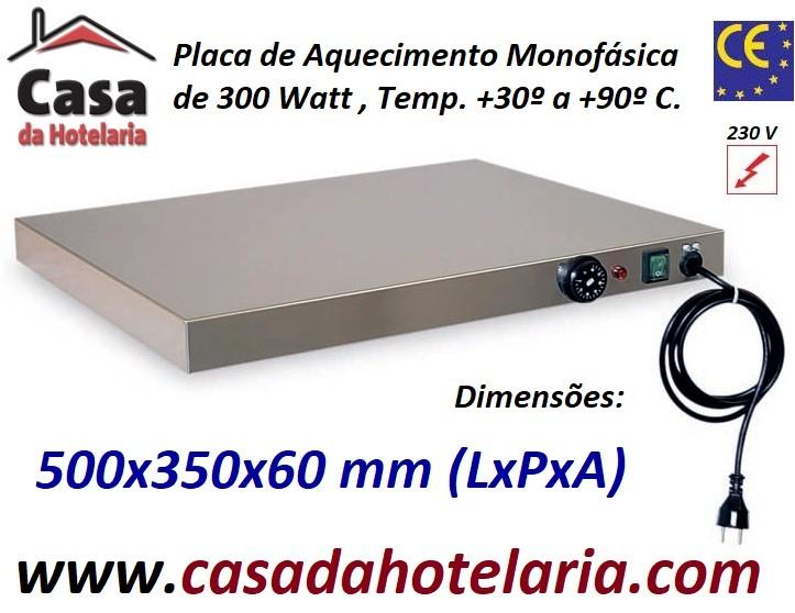 Placa de Aquecimento Monofásica, 500x350x60 mm LxPxA, 300 Watt, +30º +90º C (transporte incluído) - Refª 101033