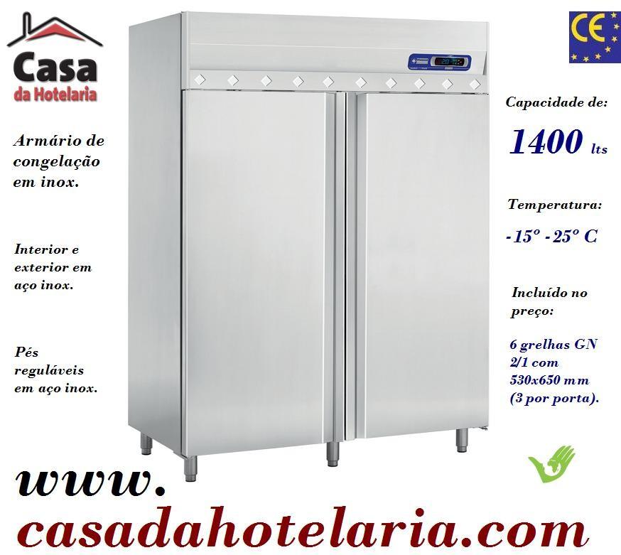 Armário de Congelação Ventilado em Inox de 1400 Litros, Temperatura -15º -25º C (transporte incluído) - Refª 101229