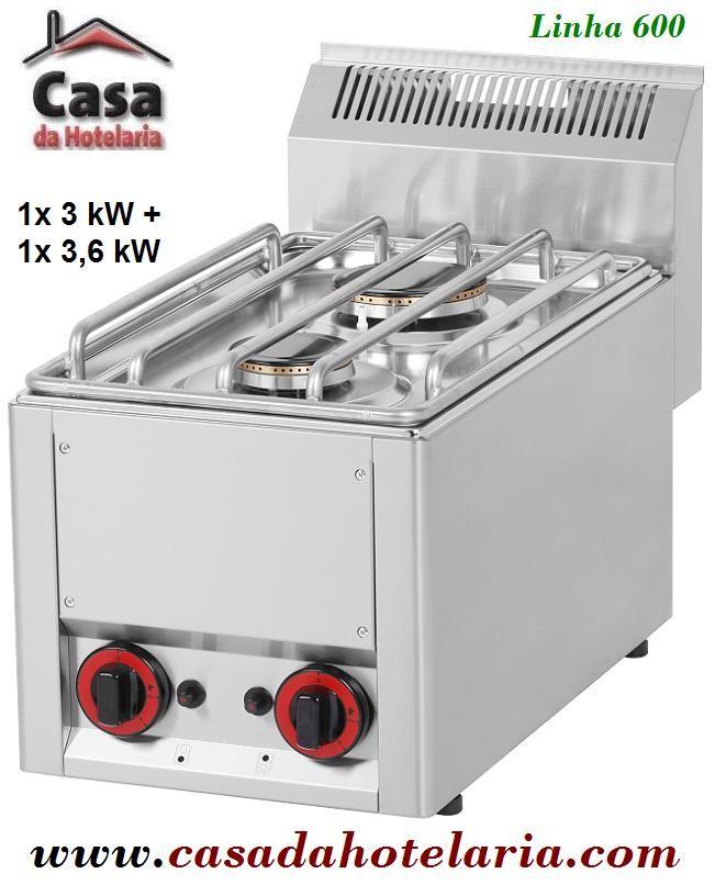 Fogão a Gás de 2 Queimadores, 1x 3 kW + 1x 3,6 kW da Linha 600 (transporte incluído) - Refª 101300