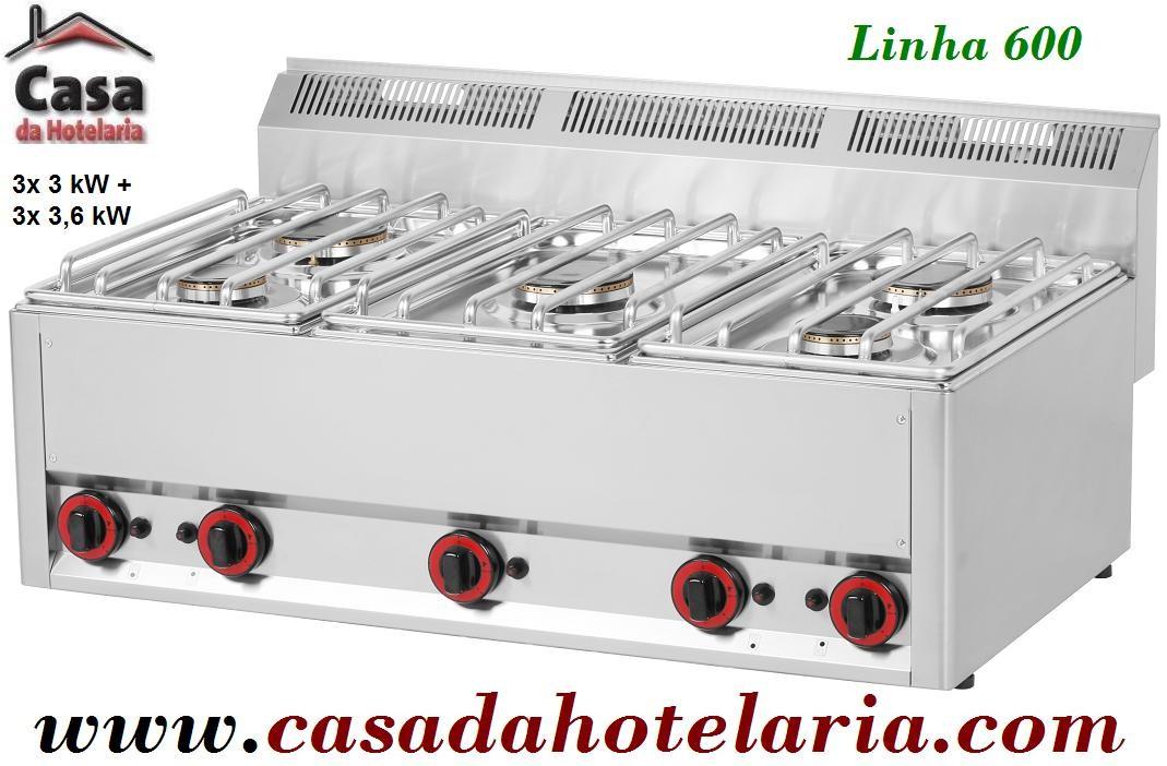 Fogão a Gás de 5 Queimadores, 2x 3 kW + 3x 3,6 kW da Linha 600 (transporte incluído) - Refª 101302
