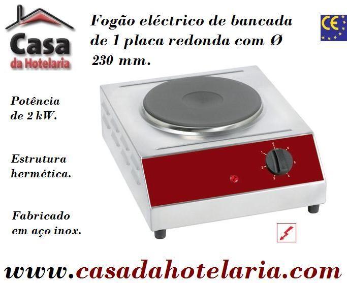 Fogão Eléctrico Industrial de Bancada com 1 Placa Redonda de 2000 Watt (transporte incluído) - Refª 101600
