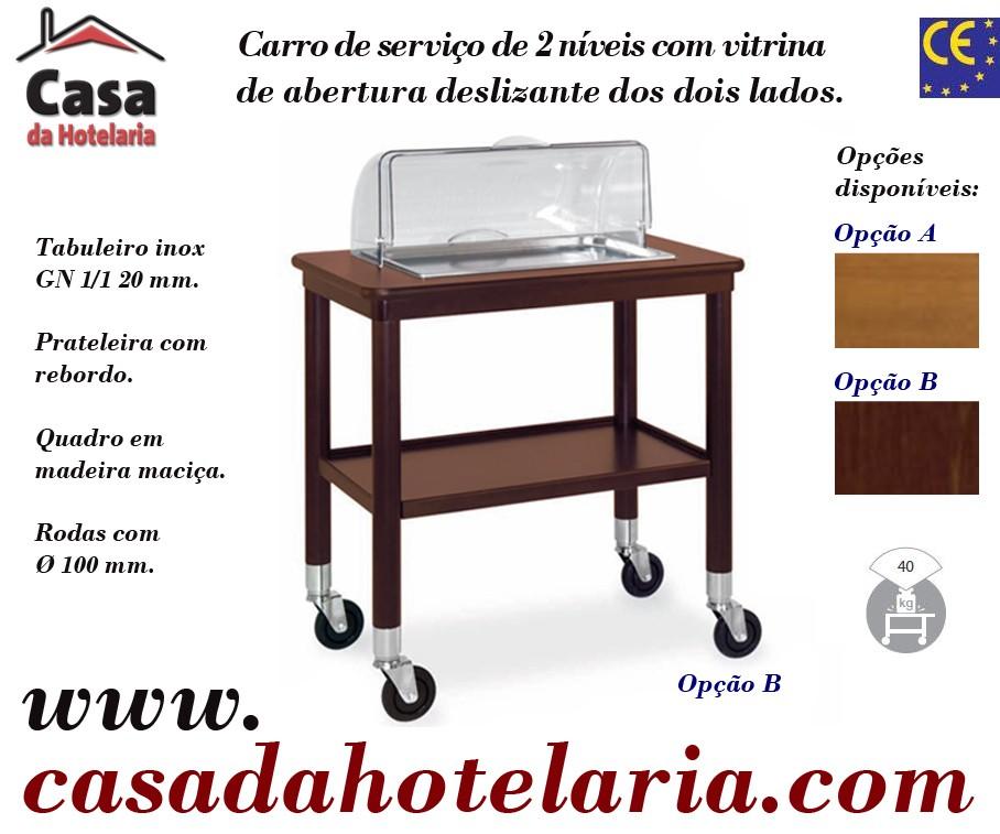 Carro de Serviço para Hotelaria de 2 Níveis com Vitrina (transporte incluído) - Refª 101630