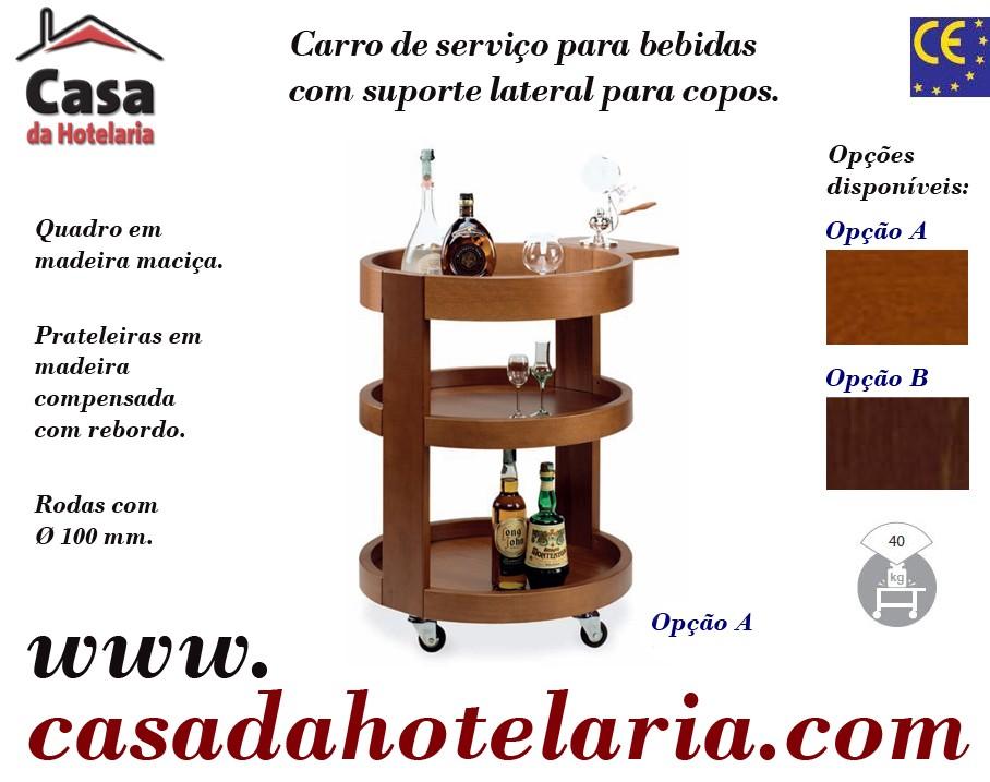 Carro de Serviço de 3 Níveis para Bebidas Espirituosas com Suporte Lateral (transporte incluído) - Refª 101649