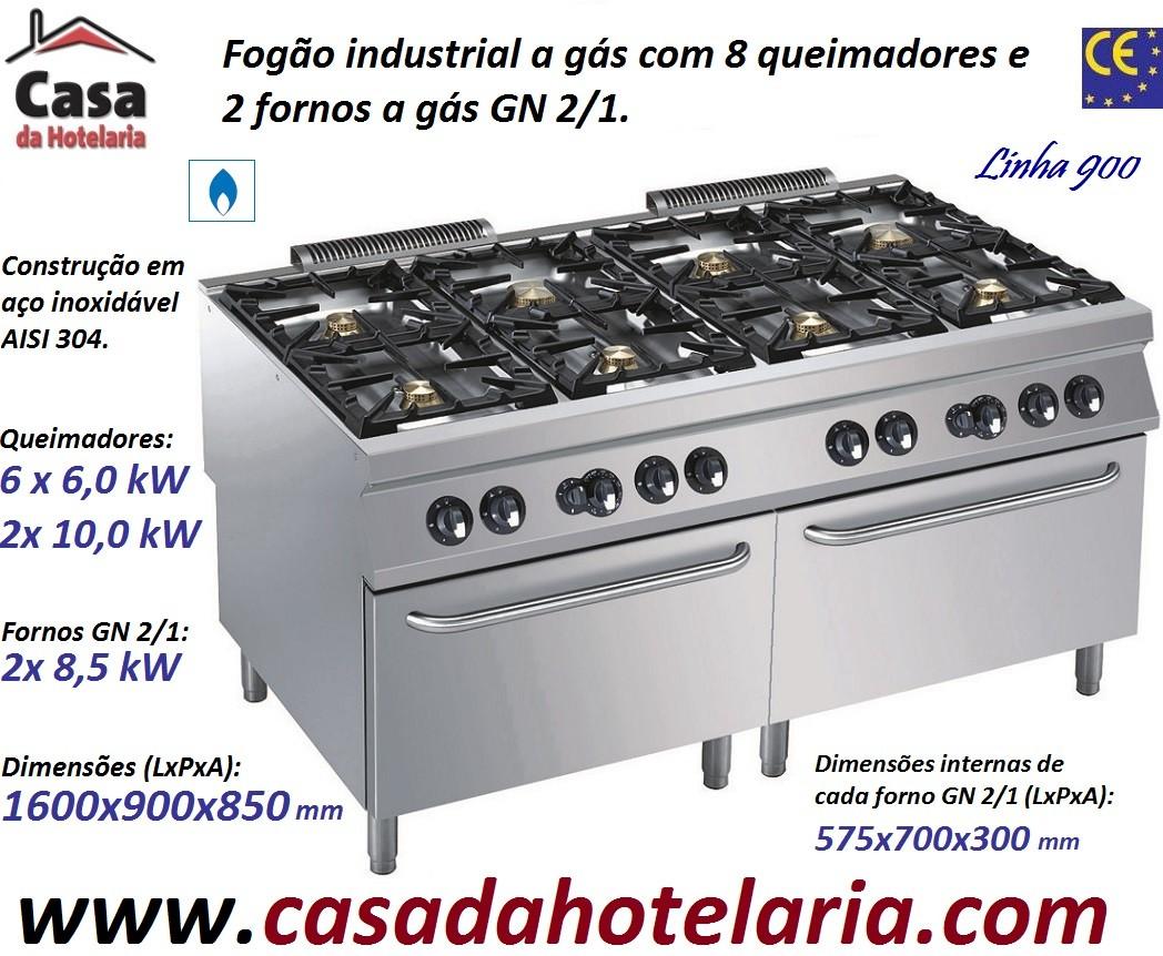 Fogão Industrial a Gás de 8 Queimadores com 2 fornos a Gás GN 2/1, potência de 73 kW (transporte incluído) - Refª 101790