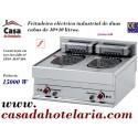 Fritadeira Eléctrica Industrial Trifásica de 2 Cubas de 10+10 Litros da Linha 650, 15000 Watt (transporte incluído) - Refª 100020