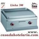Placa Grelhar Industrial Eléctrica Trifásica Lisa c/Tratamento Cromo Duro de 2 Zonas da Linha 700, Potência 8 kW (transporte incluído) - Refª 100109