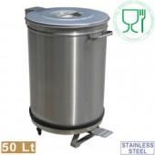 Caixote de Detritos de 50 Litros em Aço Inox com Tampa, Pedal e Rodas (transporte incluído) - Refª 100293