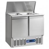 Saladette Refrigerada 2x GN 1/1 + 3x GN 1/6 de 150 mm com Tampa e 2 Portas GN 1/1, capacidade de 240 Litros, +2º +8º, +4º +10º C (transporte incluído) - Refª 100175