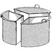 Cesto Dividido em 3 Secções em Aço Inox para Marmitas de 100 Litros (transporte incluído) - Refª 100597