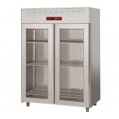 Armário Congelação Industrial Ventilado GN 2/1 em Aço Inoxidável com 2 Portas de Vidro, Congelador de 1400 Litros, -10º -20º C (transporte incluído) - Refº 102589