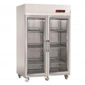 Armário de Congelação Ventilado GN 2/1 em Aço Inoxidável, Frigorífico Industrial de 2 Portas de Vidro com 1400 Litros, -15º -25º C (transporte incluído) - Refª 101233