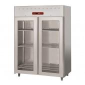 Armário Refrigerado Industrial Ventilado GN 2/1 em Aço Inoxidável com 2 Portas de Vidro, Frigorífico de 1400 Litros, 0º +10º C (transporte incluído) - Refº 102587