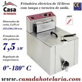 Fritadeira Eléctrica Trifásica de 1 Cuba de 12 Litros de Alta Potência com 7500 Wartts, Torneira de Saída e Tampa (transporte incluído) - Refª 100008