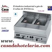 Fritadeira Industrial a Gás de 2 Cubas de 8+8 Litros da Linha 650, 10850 Kcal/h (transporte incluído) - Refª 100022