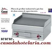 Placa de Grelhar Industrial a Gás Lisa de 2 Zonas da Linha 650, 9800 Kcal/h (transporte incluído) - Refª 100026