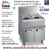 Fritadeira Industrial a Gás da Linha 700 de 2 Cubas de 14+14 Litros com Armário Neutro, +90º a +190º C, 21500 Kcal/h (transporte incluído) - Refª 100086