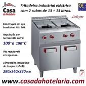 Fritadeira Industrial Eléctrica Trifásica da Linha 700 de 2 Cubas 13+13 Litros com Armário, +100º a +190º C, Potência de 18000 Watts (transporte incluído) - Refª 100091