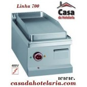 Placa Grelhar Industrial Eléctrica Trifásica Lisa com Tratamento Cromo Duro de 1 Zona, Linha 700, Potência 4 kW (transporte incluído) - Refª 100106