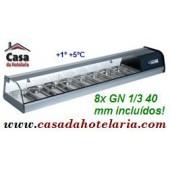 Vitrina - Estrutura Refrigerada de Balcão 8x GN 1/3 de 40 mm (transporte incluído) - Refª 100171