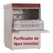 Máquina de Lavar Loiça Industrial Monofásica Profissional para Copos e Pequenos Pratos com Cestos de 400x400 mm e Purificador de Água (transporte incluído) - Refª 100189