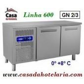 Bancada Refrigerada Ventilada de 2 Portas, 245 Litros, Temperatura 0º +8º C (transporte incluído) - Refª 100200