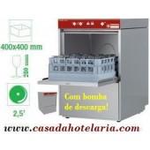 Máquina de Lavar Copos 400x400 mm com Controlo Electrónico e Bomba de Descarga (transporte incluído) - Refª 100219