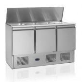 Saladette Refrigerada e Ventilada para 4x GN 1/1 até 150 mm com Tampa e 3 portas, 380 Litros, +2º +8º C / +4º +10º C (transporte incluído) - Refª 100224