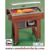 Carro de Serviço Buffet Refrigerado para Sobremesas em Madeira Maciça, Temperatura +4º +10º C (transporte incluído) - Refª 100241