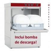 Máquina de Lavar Louça Profissional 500x500 mm Monofásica com Parede de Revestimento Duplo e Bomba de Descarga (transporte incluído) - Refª 100297