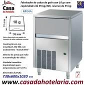 Fabricador de Cubos de Gelo com 18 gr, 95 kg/24h, Reserva 55 kg. Condensação a Ar, Monofásico (transporte incluído) - Refª 100298