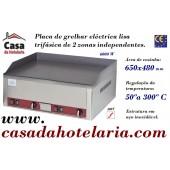 Placa de Grelhar Eléctrica Lisa Trifásica de 2 Zonas Independentes (transporte incluído) - Refª 100310